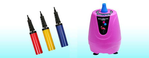 空気バルーン用ハンドポンプと電動ブロアー